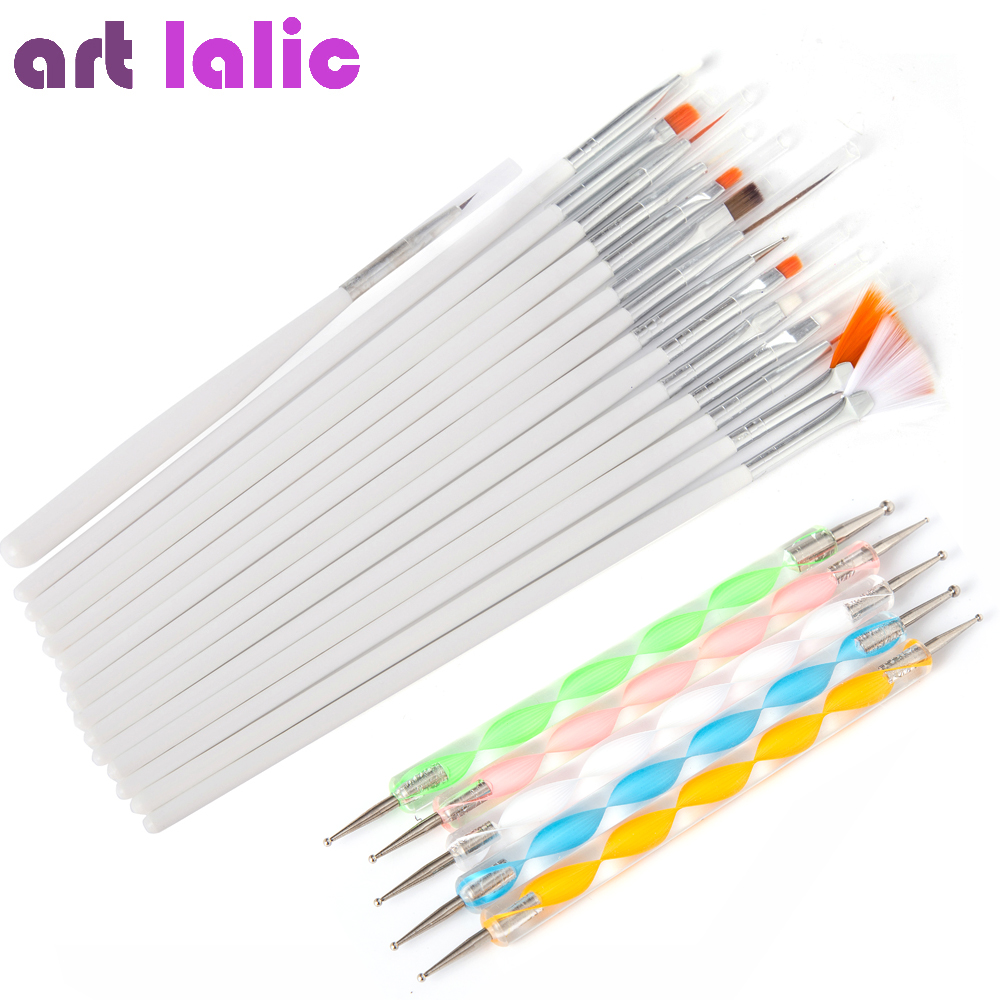 20 Pcs Nail Art Brushes Design Set Dotting Painting Drawing Polish Brush Pen Tools