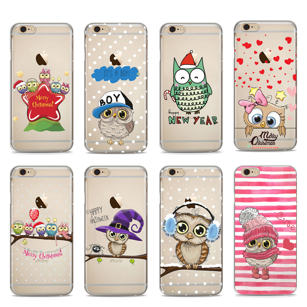 Cute Owl Merry Christmas Lovely Cartoon Phone Soft Silicone Case ...