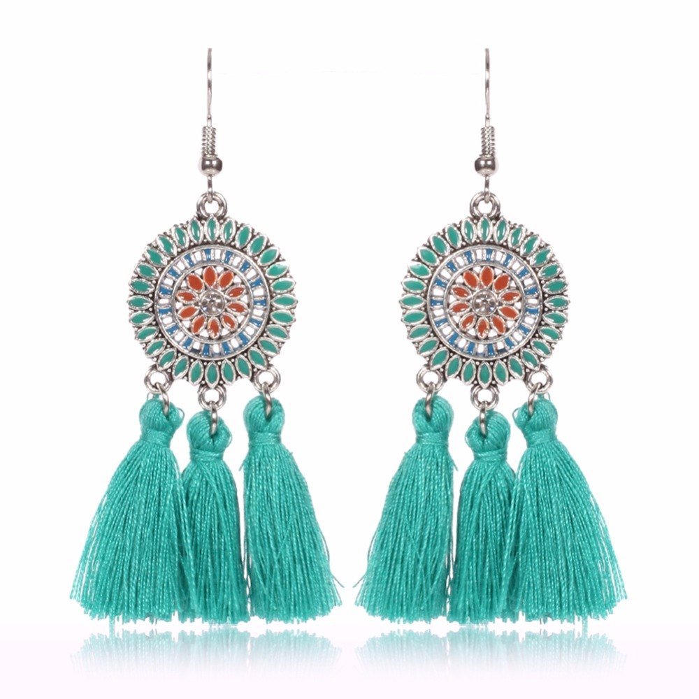 Style 123319 Diamontrigue Jewelry: 2017 Summer New Style Vintage Oil Color Fringed Feathers