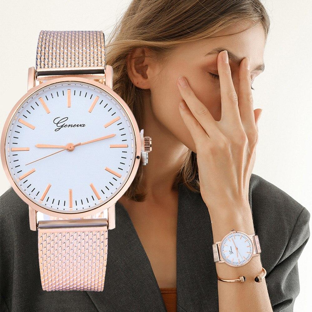 GENEVA Leather Quartz Analog Wrist Watch Luxury pulseira relogio Women Classic Quartz Silica Gel Wrist Watch Bracelet Watches