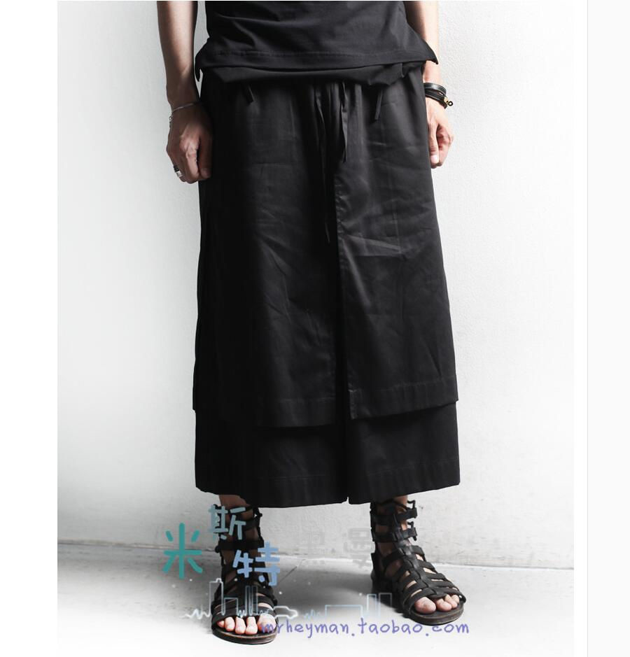27-44 2018 New Men fashion casual placketing wide leg pants double layer culottes loose pants hairstylist skirt singer costumes