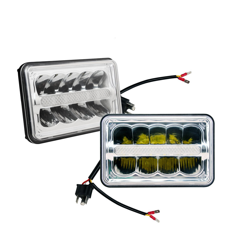 One Pair 4'' x 6'' INCH Square headlight High/Low Beam with Parking light Replace HID Xenon H4651 H4652 H4656 H4666 H6545