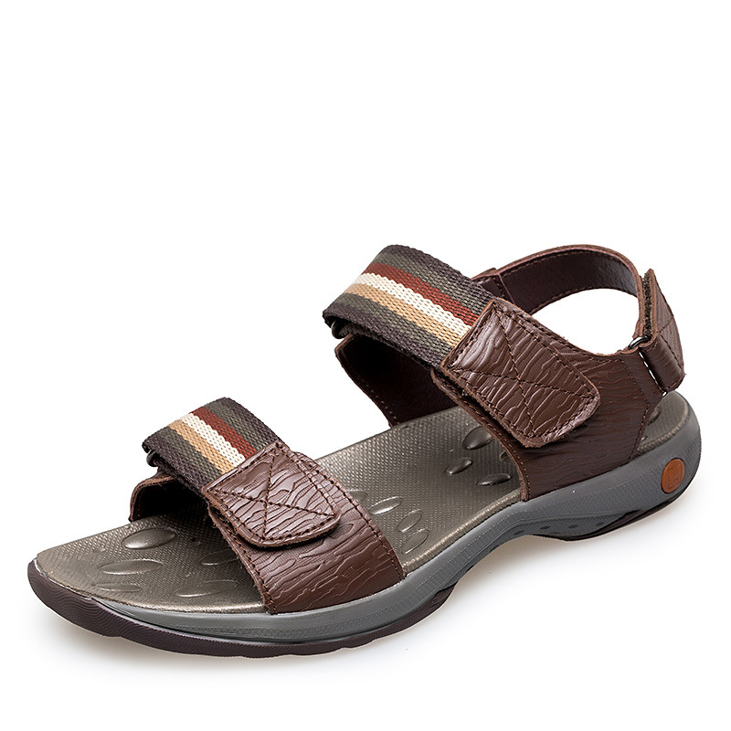 2017 Plus Size 38-47 Men Sandals Genuine Leather Fashion Summer Shoes Men Slippers Breathable Mens Sandals Causal Shoes Leather