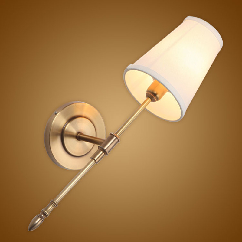 Modern Wall Lamp Real Copper Wall Sconces Fabric Lampshade Bathroom Mirror Bedside Cabinet Fixtures Home Lighting BLW040 in Wall Lamps from Lights Lighting