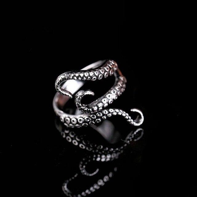 Rinhoo Cool Rings Titanium Steel Gothic Deep Sea Squid Octopus Ring Fashion Jewe