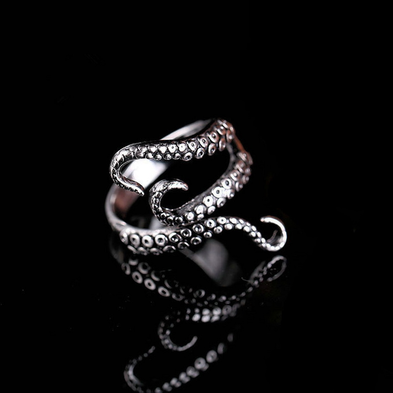 Rinhoo Cool Rings Titanium Steel Gothic Deep Sea Squid Octopus Ring Fashion Jewelry Opened Adjustable Size Top Quality(China)