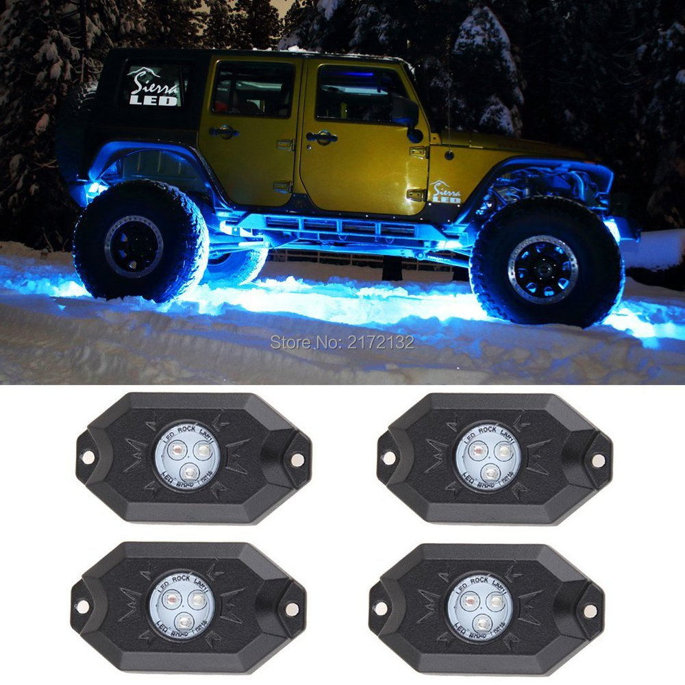 4x waterproof IP68 Bluetooth Pod RGB Mini Rock Under Vehicle LED Flush Lights Multi-Function for Jeep