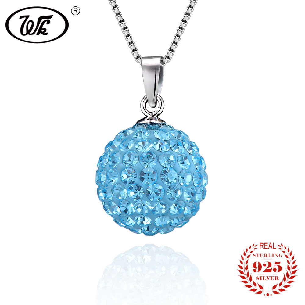 WK NEW Natural Crystal Necklace Silver 925 Sterling Green Pink Blue Crystal Ball Pendant Necklaces Chain Women 18 2018 YW NZ002 ...