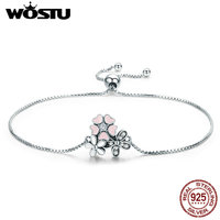 WOSTU Spring NEW 925 Sterling Silver Cherry Daisy Flower Chain Link Women Bracelet Sterling Silver Jewelry