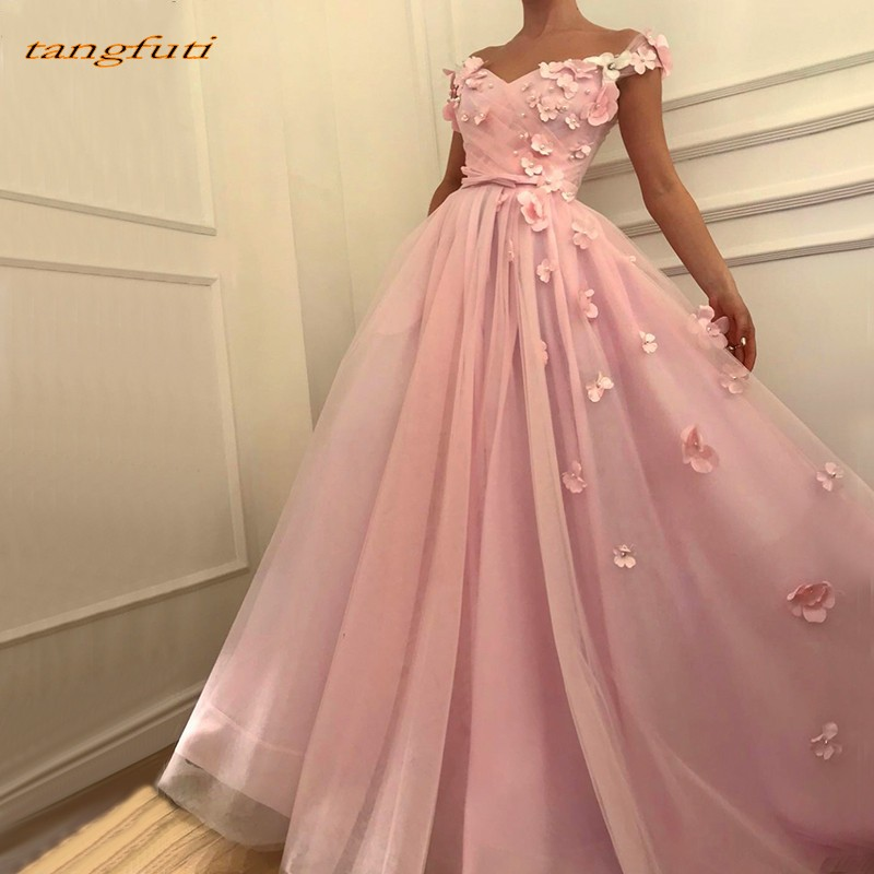 Pink Off Shoulder   Evening     Dresses   Sexy Formal   Evening   Pearls Handmade Flowers Tulle   Evening   Party Prom Gowns 2019 Party Wear