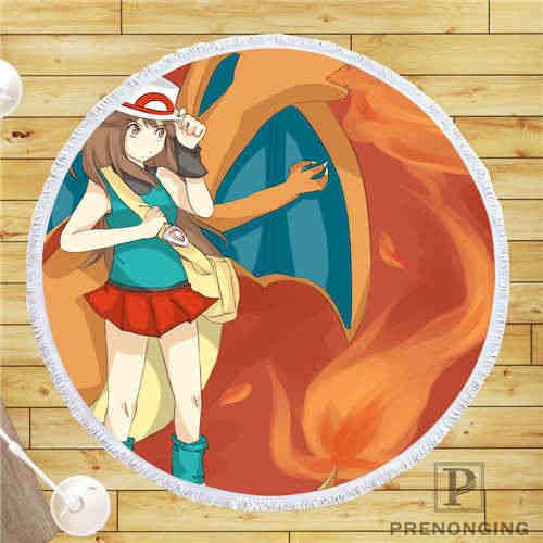Personalizado DIY tela de microfibra pokemon (1) Toalla de playa redonda impresa en la demanda 150cm #19-01-28-72
