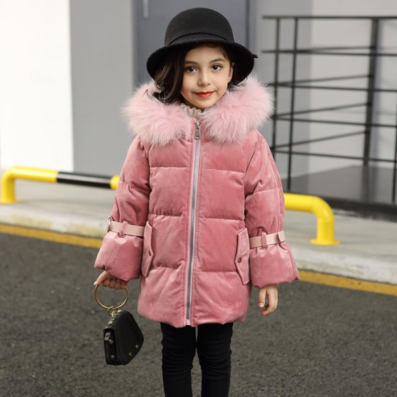 2018 New Winter Fashion Baby Girls 80% Duck Down Coat Children Kids Hooded Real Fur Jacket Girls Thick Warm Outerwear 3 Colors winter children 80% white duck down jacket boys girls warm real fur collar hooded snow coat parka kids thick outerwear coat e249