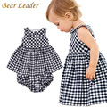 Bear Leader Baby Girls Dress 2016 New Casual Plaid Sleeveless Turn-down Collar Princess Dress + Plaid shorts 2pcs Clothing Sets