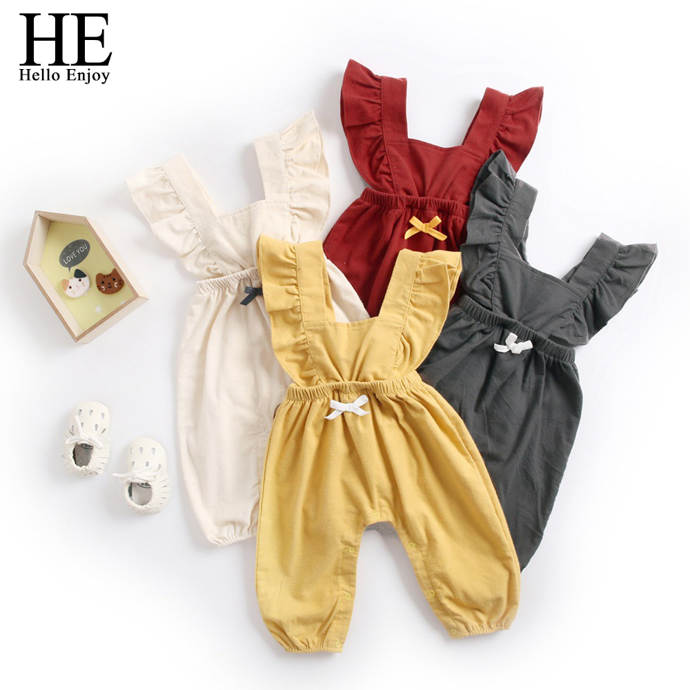 HE Hello Enjoy Baby Girl Fall   Rompers   Winter Baby Boy Clothes Solid Bow Straps Jumpsuit Trousers Newborn Clothing Overalls