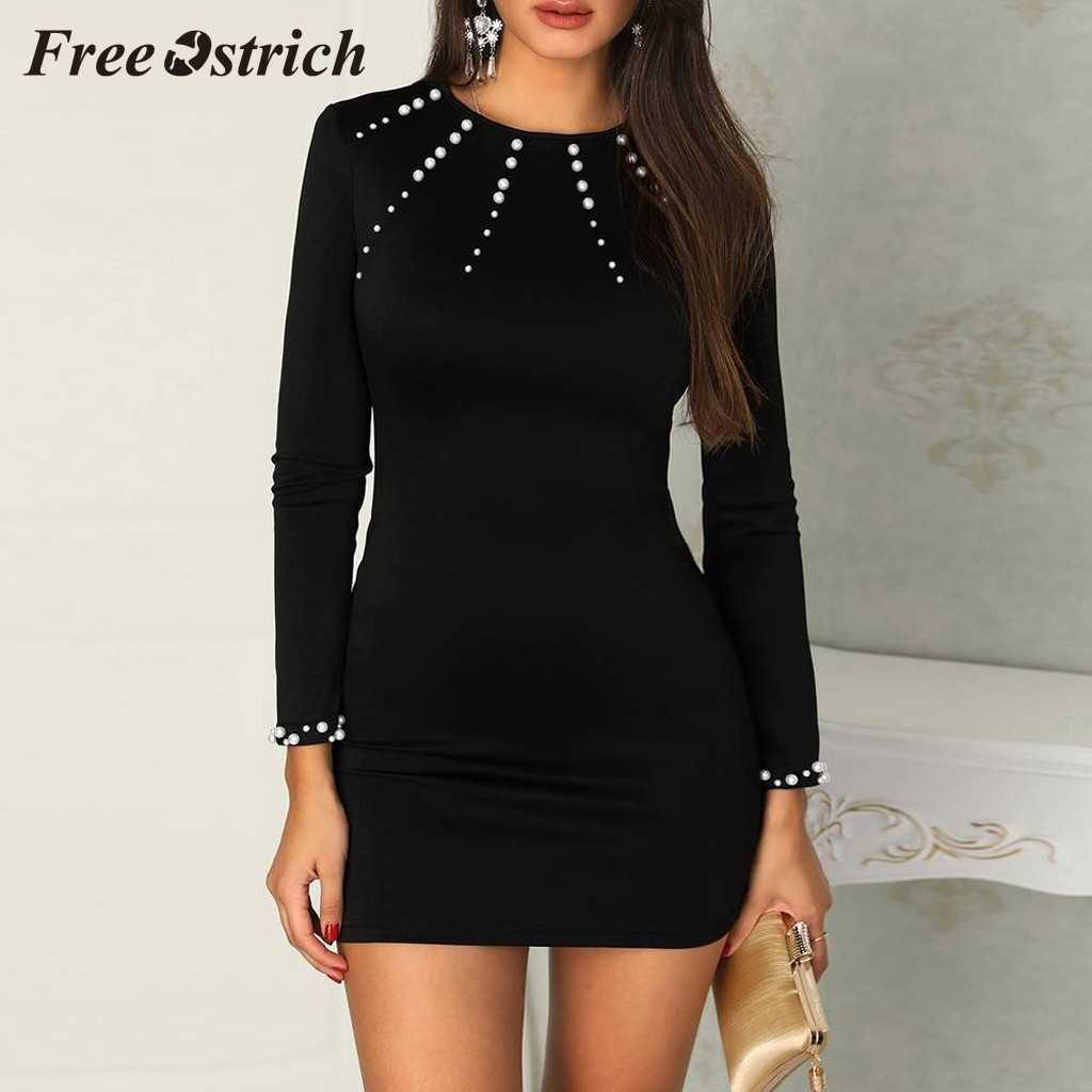 Free Ostrich 2019 Elegant Sexy Women Beaded Long Sleeve Bodycon Dress Pullover Ladies Party Cocktail Mini Dress New Hot Sales