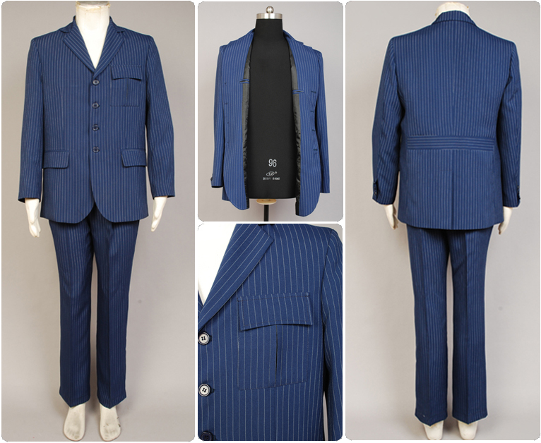 Dr.Who Doctor Blue Pinstripe Business Suit Blazer Jacket Pants Halloween Cosplay Costume Outfit For Men