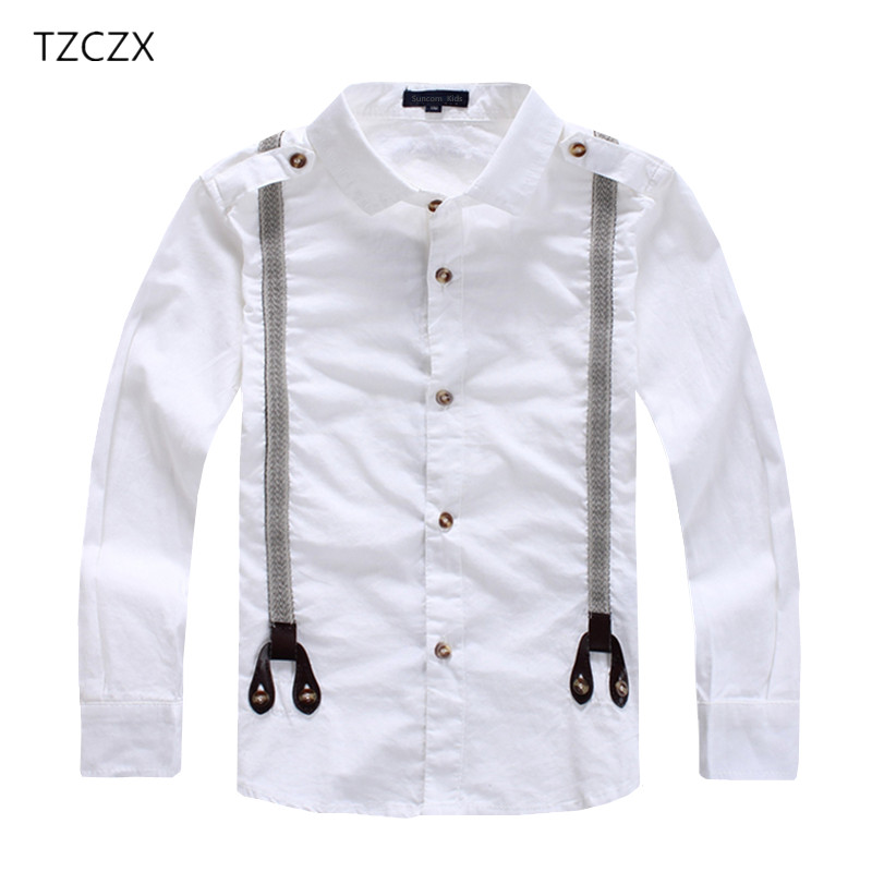 TZCZX Hot Sale Children Boy's Shirts Classic Solid White Cotton 100% Long sleeve Shirts for 3-12 years Kids wear tzczx 2525 hot sale children boy s shorts fashion print letters 100% cotton children shorts for 4 9 years kids wear