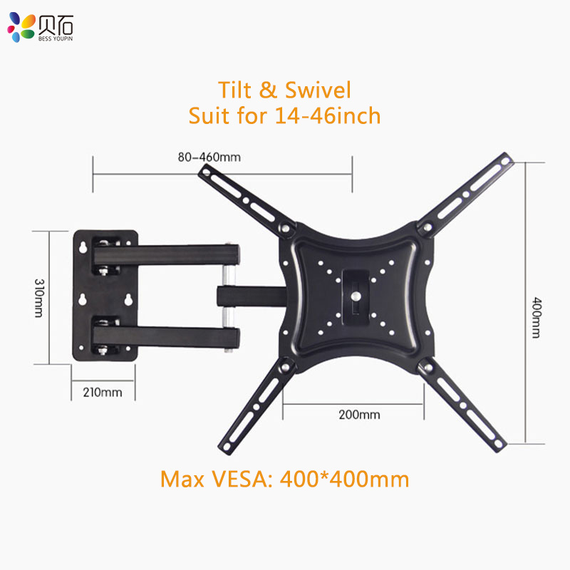 TV Wall Mount for 14 46 quot LED Plasma Flat TV Monitor up to 110lbs VESA 400x400 with Full Motion Swivel Articulating Extension Arm in TV Mount from Consumer Electronics