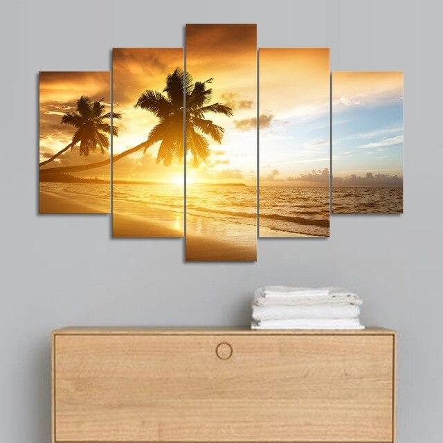 Moderan Unframed Sunset sandy beach Palm picture print canvas wall ...