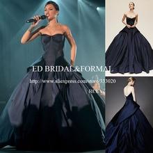Rihanna Marineblau Kleid Ballkleid Frühling 2015 Formal Abendkleid Taft Celebrity vestido de festa longo