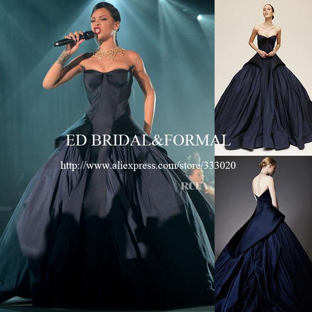 Rihanna azul vestido de baile 2015 Formal vestido de tafetá celebridade vestido de festa longo