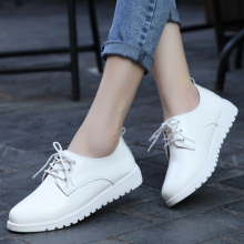 Spring and autumn shoes genuine leather flat shoes flat heel casual shoes women's british style white lacing shoes