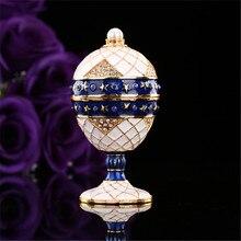 QIFU جديد وصول الأبيض والأزرق قلادة على شكل بيضة من فابرجيه حلية صندوق للديكور المنزل