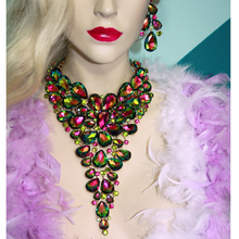 Новый Зеленый AB цвет Себе Женщины Партия Ожерелье серьги Ожерелье Свадебные Горный Хрусталь, Ювелирные Наборы
