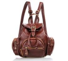 Fashion Genuine Leather Pure Color Women Backpack College Student School Bag Leisure Cow Leather Backpack Shoulder bag #VP-J3102