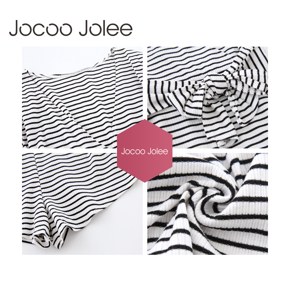 Jocoo Jolee Sexy Deep-Veck Striped Women Playsuits with Sashes Design Casual Style Summer Jumpsuits Lace-Up 2018 Summer New