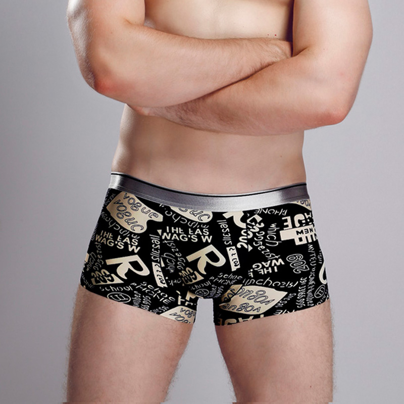 Traceless 원활한 아이스 실크 팬티 섹시한 남성 복서 만화 속옷 복서 반바지 남성 팬티 게이 cueca calzoncillos XL XXL