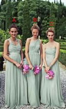 New Fashion 2016 Green Long Chiffon Bridesmaid Dresses Cheap Bridesmaid Gowns Party Dresss For Wedding Maid