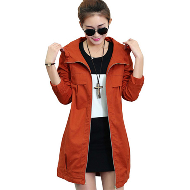 New Spring Autumn Women   Trench   Coat Korean Loose long Hooded Outerwear Solid Zipper Plus Size M-4XL Cotton Windbreaker Female710