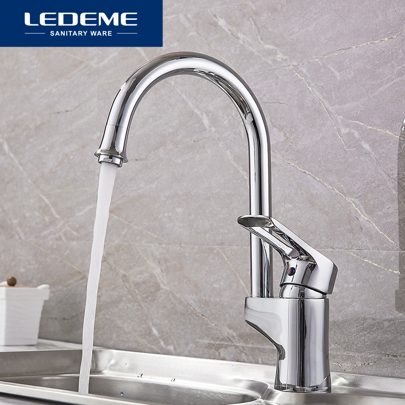 LEDEME Kitchen Faucet Brass Body 360 Degree Rotation Chrome Curved Outlet Pipe Tap Basin Plumbing Hardware Sink Faucet L4025