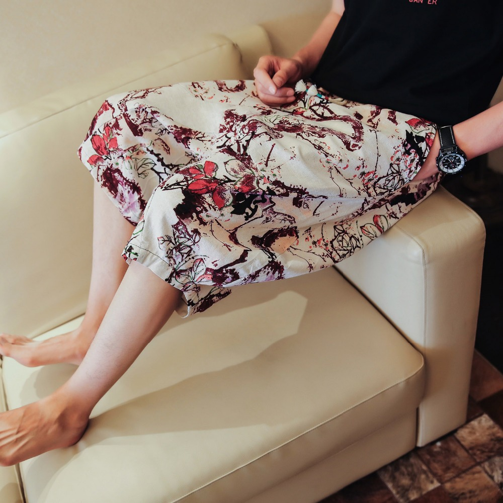 M-5XL!!! 2018 Summer chinese style ink painting print male linen capris trend national flower male beach