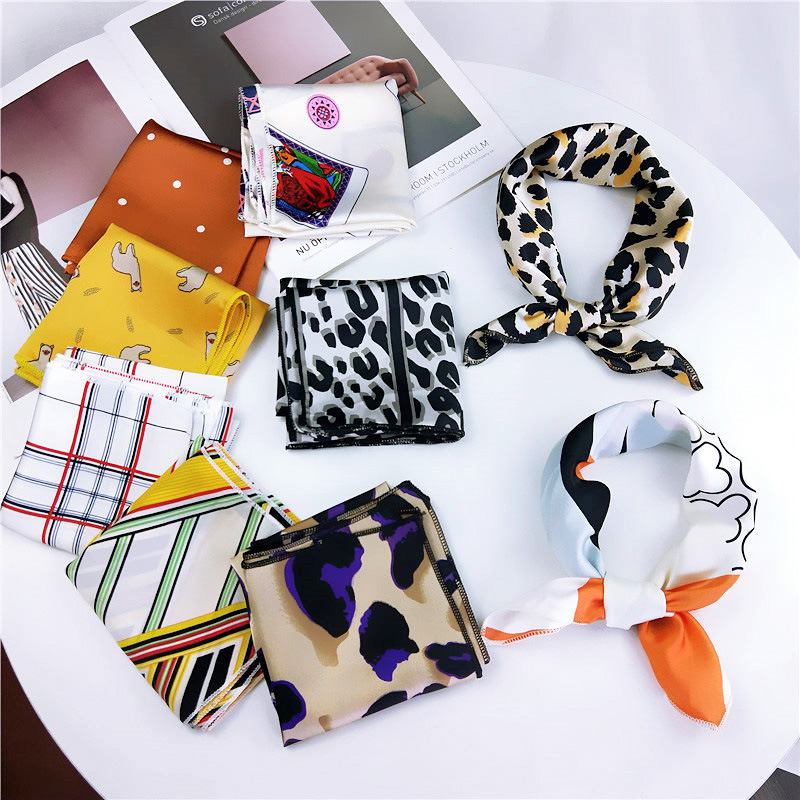Leopard Square Scarf Satin Spring Summer Women Headband Bandana Headwear Hand Kerchief Hair Band Square Scarf For Female