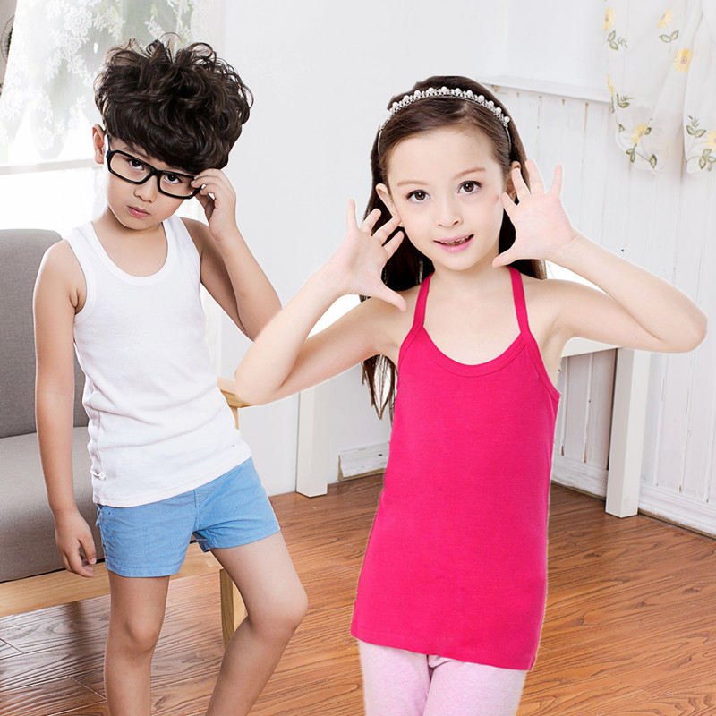 T-Shirts Girl Children Blouse Boys Baby Summer Solid for Suspenders Vest Candy Camisoles