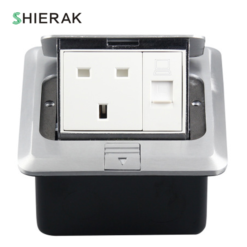 SHIERAK Aluminum Silver Panel 13A UK British Standard Pop Up Floor Socket Electrical Power Outlets With Internet Computer Port ip55 british marked outdoor waterproof 13a socket british socket british splash socket british standard socket 10a 110v 250v