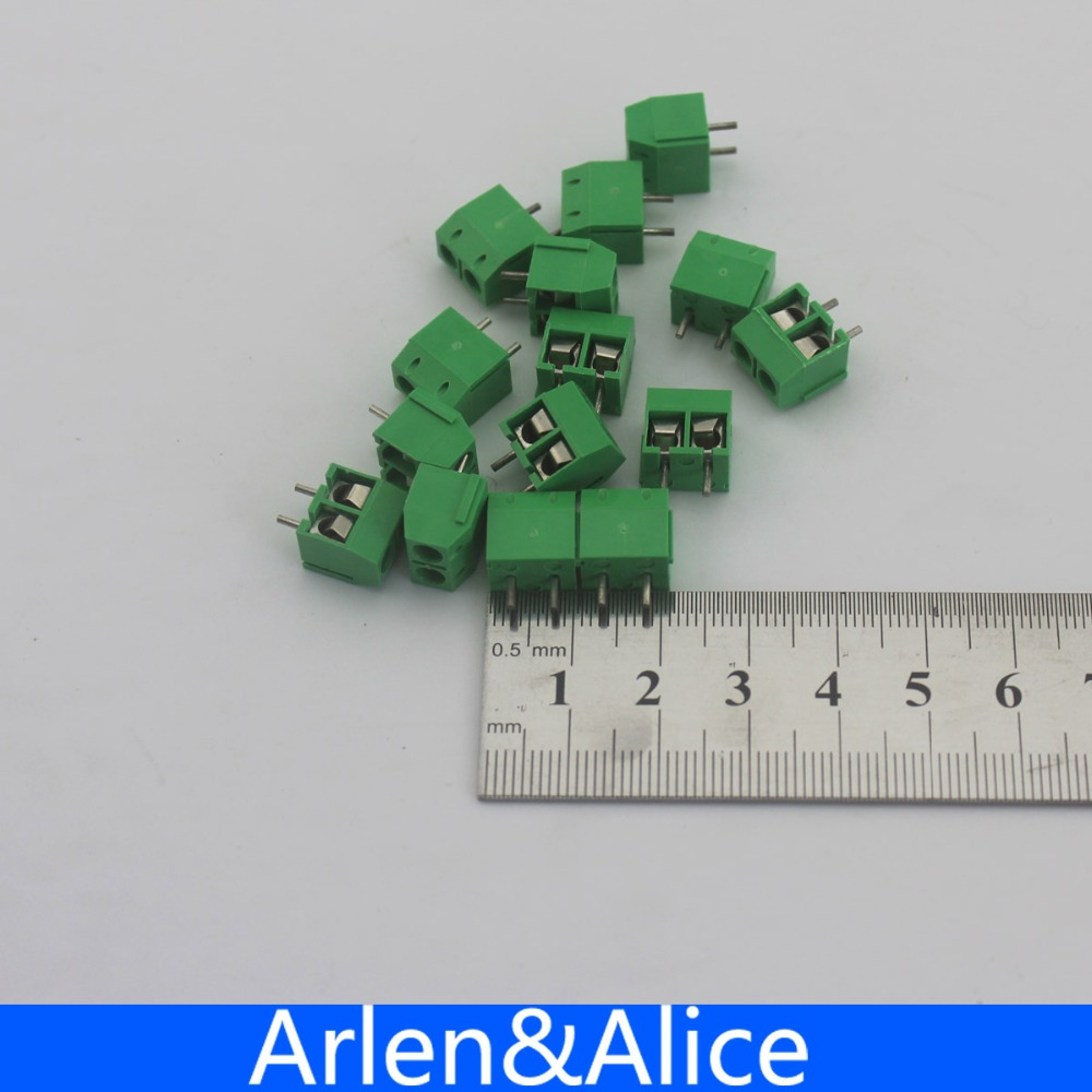 100 pcs 2 Pin Screw Green PCB Terminal Block Connector 5mm Pitch diy electronic pcb test endpoint pin red 100 pcs