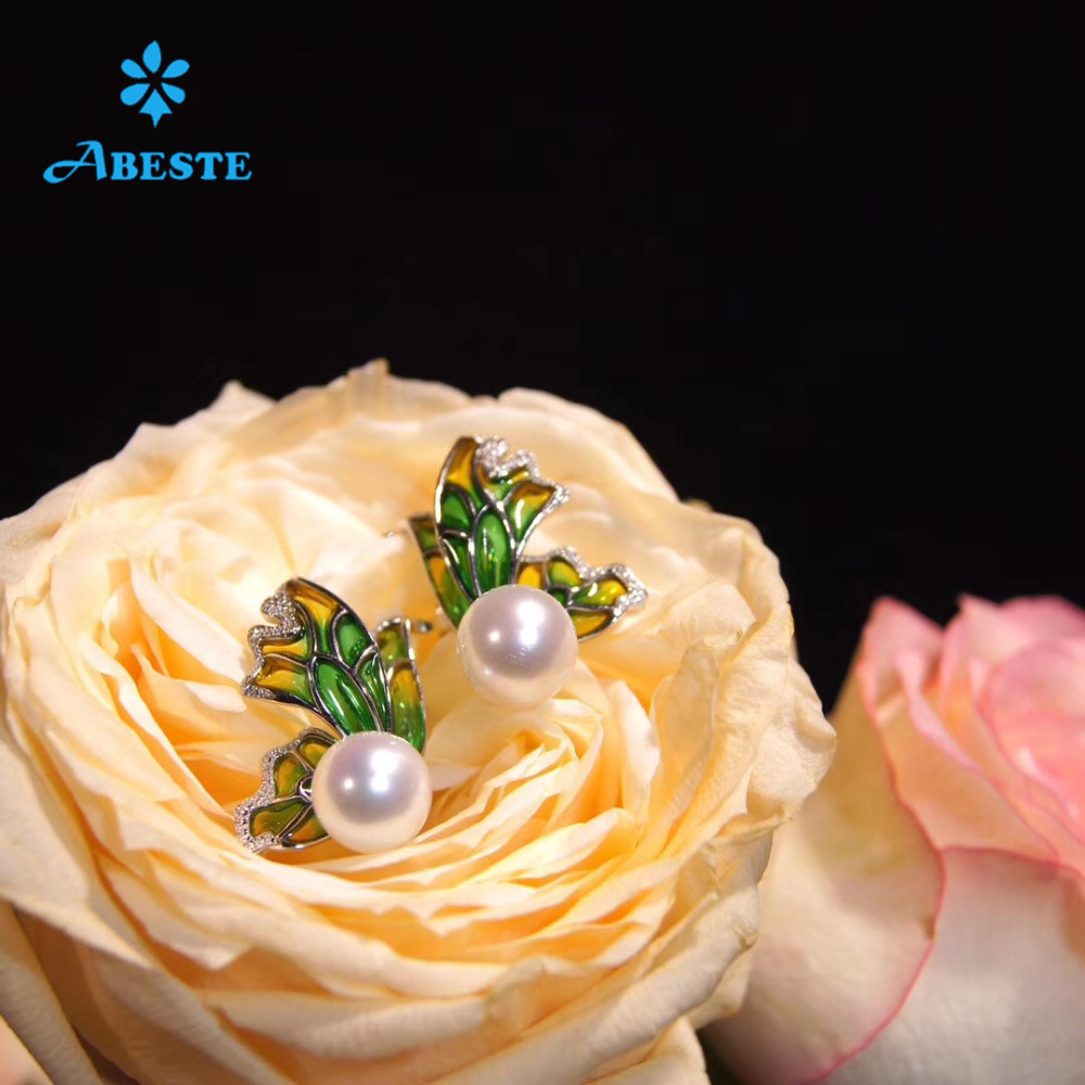 ANI 925 Sterling Zilveren Vrouwen Stud Oorbel Natuurlijke Zoetwater Witte Parel Gouden Oorbel Handgemaakte Sieraden Vlindervorm Enamel