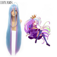 No Game No Life Shiro Natural 100cm Long Straight 2 Tones Blue Purple Mix Synthetic Cosplay Wig Hair For Halloween Party