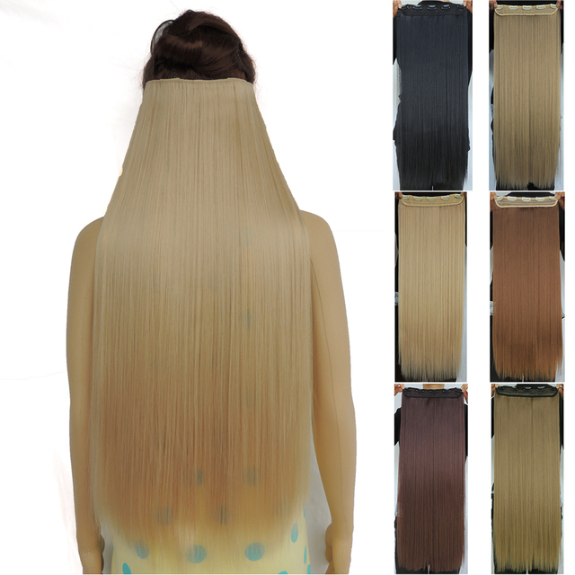 28 inch clip in hair extensions synthetic straight haar extension