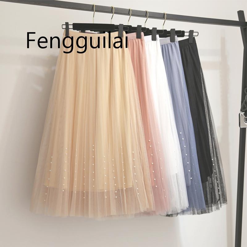 Купить женская плиссированная юбка средней длины длинная сетчатая трапециевидная