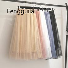New 2019 Spring Summer AUTUMN Skirts Womens Beading Mesh Tulle Skirt Women Elastic High Waist A Line Mid Calf Midi Long Pleated