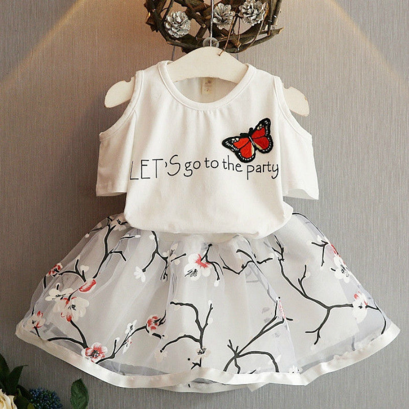 2PCS Toddler Kids Baby Girls T-shirt Tops+Floral Skirt Dress Outfits Girls Clothes Set 2T 3T 4T 5T 6T dzrzvd floral printed high waist sexy bikinis women swimsuit bathing suits push up bikini set beach plus size flower swimwear