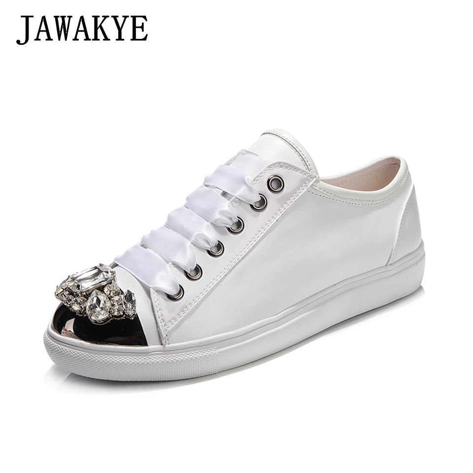 Women Rhinestone Round toe Flat Shoes Woman Genuine leather Comfortable Lace up Crystal Casual Shoe fashion Sneakers for womenWomen Rhinestone Round toe Flat Shoes Woman Genuine leather Comfortable Lace up Crystal Casual Shoe fashion Sneakers for women