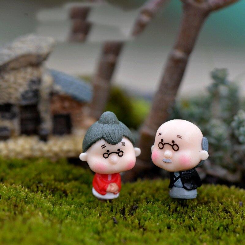 Super Deal Ba4c7 2pcs Mini Dancing Grandparents Figurines Resin