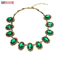 SHEEGIOR Lovely Red Green Glass Choker Necklace Women Vintage Gold Color Chains Necklaces Crystal Rhinestone Collar