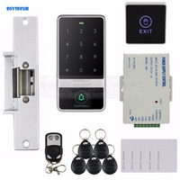 Touch Button 125KHz RFID Reader Password Keypad Strike Lock Remote Control Door Access Control Security System