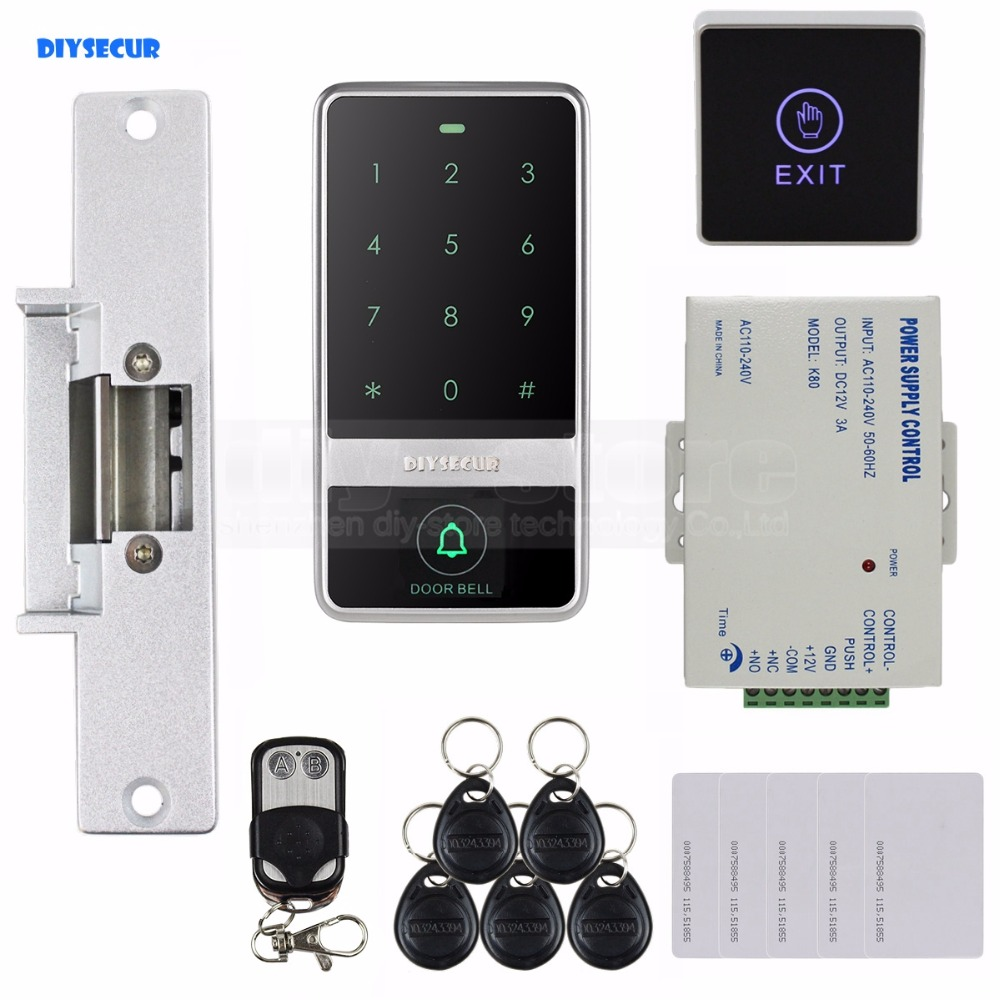 DIYSECUR Touch Button 125KHz RFID Reader Password Keypad + Strike Lock + Remote Control Door Access Control Security System Kit diysecur 125khz rfid reader password keypad access control system security kit 280kg magnetic lock door lock exit button